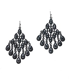 Relativity® Hematite Faceted Stone Chandelier Earrings