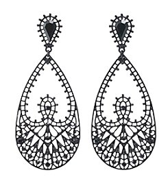 Relativity® Black Plated  Filigree Teardrop Earrings With Stones