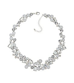 Relativity® Silvertone Mixed Stone Collar Necklace
