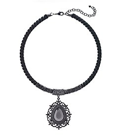 Relativity® Blacktone Velvet Collar Pendant Necklace