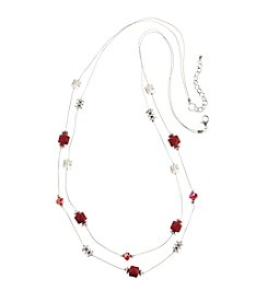 Studio Works® Silvertone Beaded Two Row Illusion Necklace