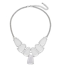 Studio Works® Silvertone Faceted Frontal Necklace With Stones
