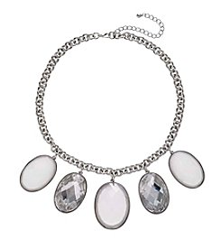 Studio Works® Silvertone Oval Faceted Necklace With Stones