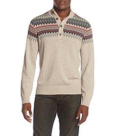 Izod® Men's Saltwater Button Mock Neck Fair Isle Sweater