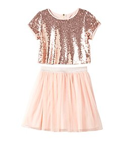 Sequin Hearts® Girls' 7-16 2-Piece Sequin Top and Skirt Set