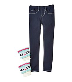 Squeeze® Girls' 4-6X Skinny Jeans with Owl Leg Warmers