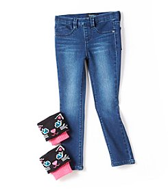 Squeeze® Girls' 4-6X Skinny Jeans with Cat Leg Warmers