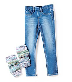 Squeeze® Girls' 4-6X Skinny Jeans with Leg Warmers