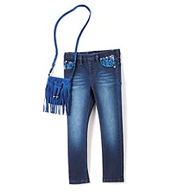 Squeeze® Girls' 4-6X Skinny Jeans with Fringe Purse