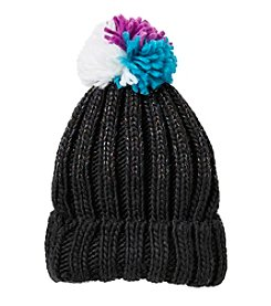 Miss Attitude Girls' Bulky Knit Beanie with Pom