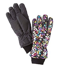 Miss Attitude Girls' Rainbow Leopard Print Ski Gloves