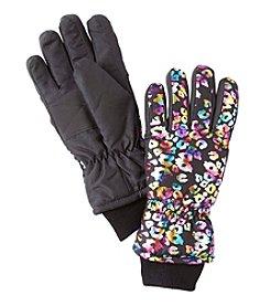 Miss Attitude Girls' Rainbow Leopard Print Ski Gloves