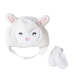 Cuddle Bear® Baby Girls' Sherpa Lamb Beanie & Knit Mittens Set
