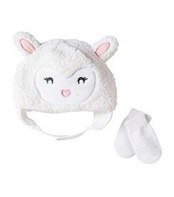 Cuddle Bear® Baby Girls' Sherpa Lamb Beanie & Knit Mittens Set