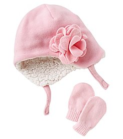Cuddle Bear® Baby Girls' Sparkle Fleece Beanie & Knit Mittens Set