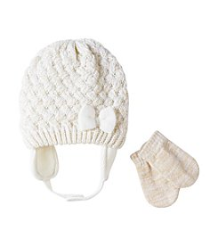 Cuddle Bear® Baby Girls' Lattice Knit Beanie & Mittens Set