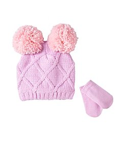 Cuddle Bear® Baby Girls' Cable-Knit Beanie & Mittens Set