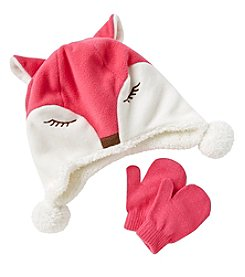 Miss Attitude Girls' 2T-4T Fox Beanie & Knit Mittens Set
