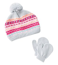 Miss Attitude Girls' 2T-4T Fair Isle Knit Beanie & Mittens Set