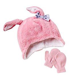 Miss Attitude Girls' 2T-4T Bunny Beanie & Knit Mittens Set