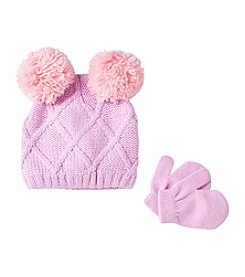 Miss Attitude Girls' 2T-4T Cable Knit Beanie & Mittens Set