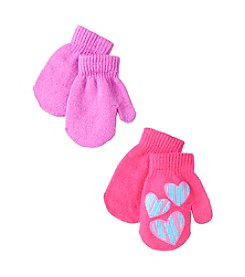 Miss Attitude Girls' 2T-4T 2-Pack Print & Solid Magic Mittens