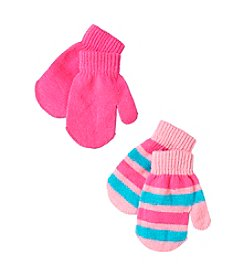 Miss Attitude Girls' 2T-4T 2-Pack Stripe & Solid Magic Mittens