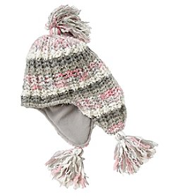 Miss Attitude Girls' 4-16 Popcorn Knit Flap Hat