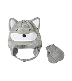 Cuddle Bear® Baby Boys Fox Knit Beanie & Mittens Set