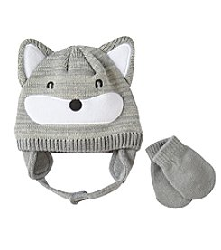 Statements Boys' 2T-4T Fox Knit Beanie & Mittens Set