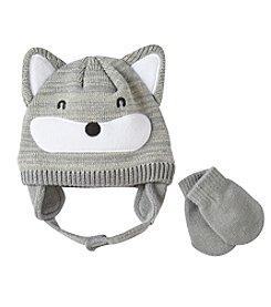 Statements Boys' 2T-4T Fox Knit Beanie & Mittens Set