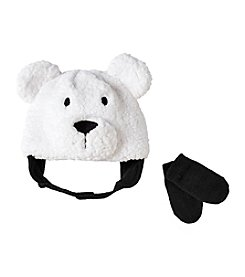 Cuddle Bear® Baby Boys Sherpa Bear Beanie & Knit Mittens Set