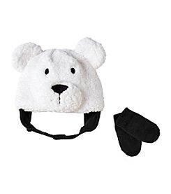 Cuddle Bear® Baby Boys Sherpa Bear Beanie & Knit Mittens Set