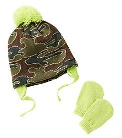 Cuddle Bear® Baby Boys' Knit Camo Beanie & Mittens Set