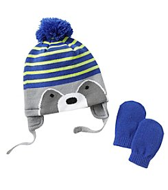 Cuddle Bear® Baby Boys' Knit Raccoon Beanie & Mittens Set
