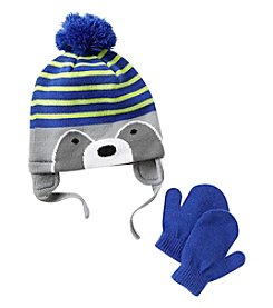 Statements Boys' 2T-4T Knit Raccoon Beanie & Mittens Set