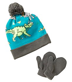 Statements Boys' 2T-4T Dino Knit Beanie & Mittens Set