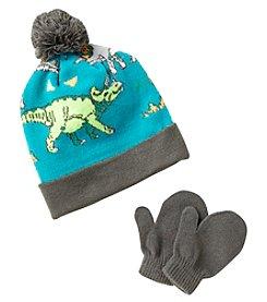Statements Boys' 2T-4T Dino Knit Beanie & Mittens Set