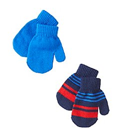 Statements Boys' 2T-4T 2-Pack Stripe & Solid Magic Mittens
