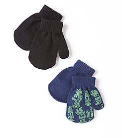 Statements Boys' 2T-4T 2-Pack Print and Solid Magic Mittens