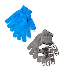Statements Boys' 2-Pack Print & Solid Magic Mittens