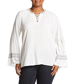 Democracy Plus Size Lace-Up Bell Sleeve Top