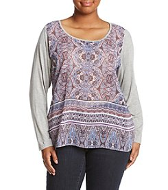 Democracy Plus Size Paisley Print Top With Knit Sleeves