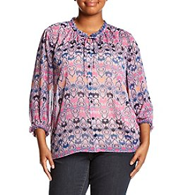 Democracy ® Plus Size Printed Tie Neck Top