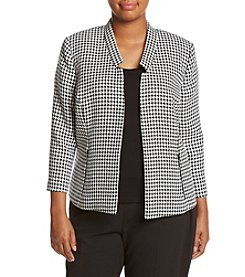 Kasper® Plus Size Houndstooth Flyaway Jacket