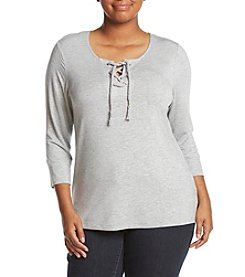 Democracy Plus Size Lace-Up Knit Top