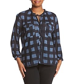 Democracy ® Plus Size Buffalo Plaid Tie Top