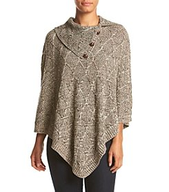 Eight Eight Eight Lattice Button Collar Poncho