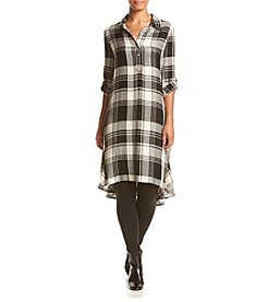 Fever™ Plaid High-Low Roll Tab Tunic Top