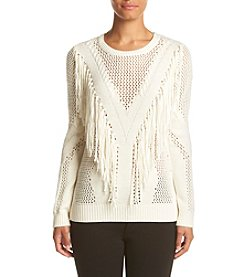 Chelsea & Theodore® Pointelle Fringe Sweater